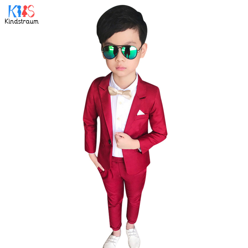 e5aadd828 Kindstraum Kids Gentleman Wedding Formal Suits Boys Party Wear 2pcs Solid  Blazer+Pant Fashion Children Formal Clothing Set,MC926