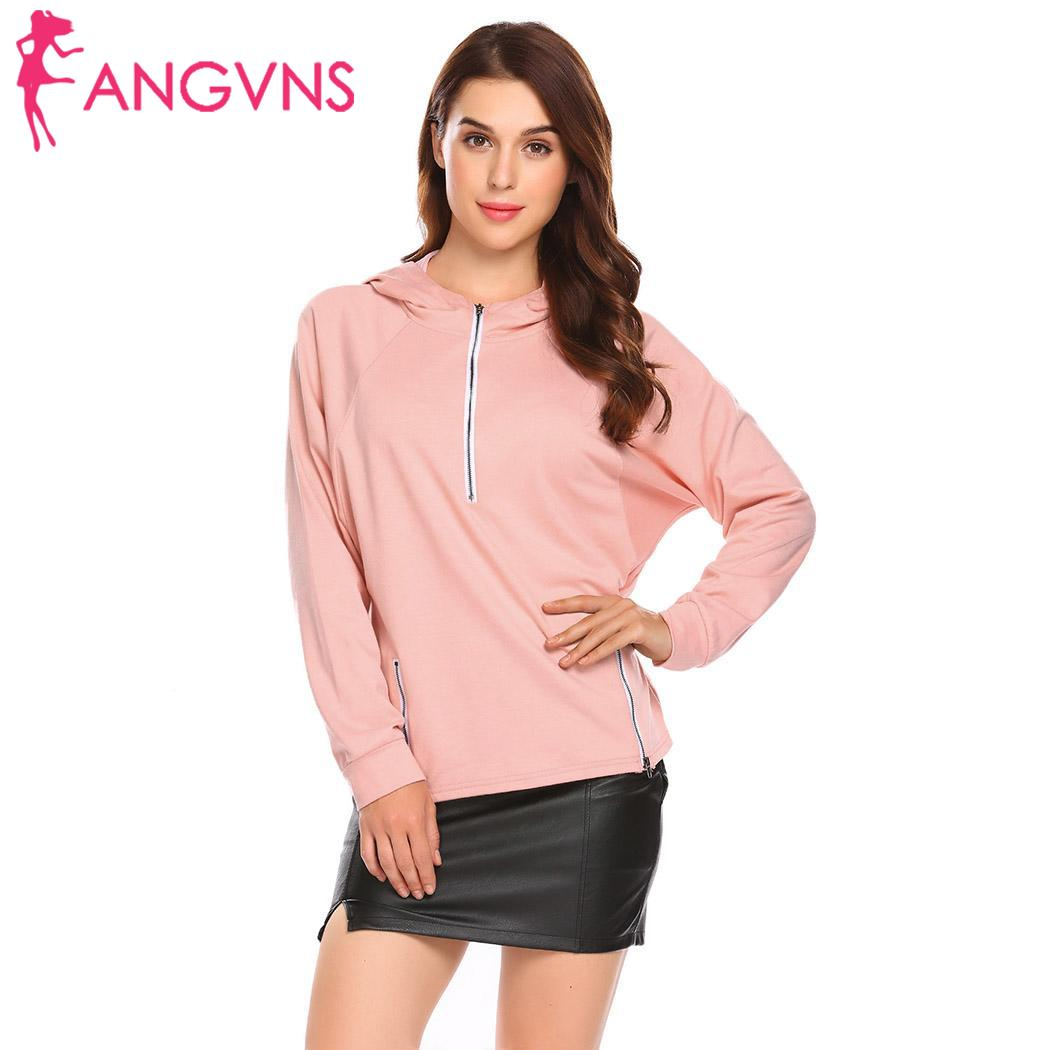 ANGVNS Women Hooded Sweatshirt solid Female Batwing Sleeve Casual Hoodie Sweatshirt Pullover women Hoodies Tops pink