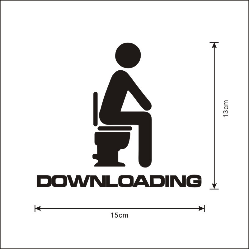 Funny Bathroom Toilet Seat Sticker Downloading WC Vinyl Wall Sticker ...