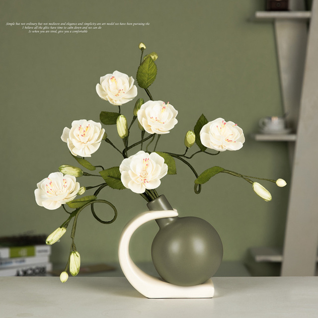 European Modern Ceramic Flower Vase Miniature Figurine Craft