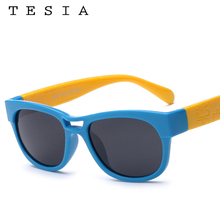 TESIA Soft Silicone Polarized Sunglasses Kids quare Sun Glasses Candy Color Formal Eyewear For Party Oculos Infantil S812