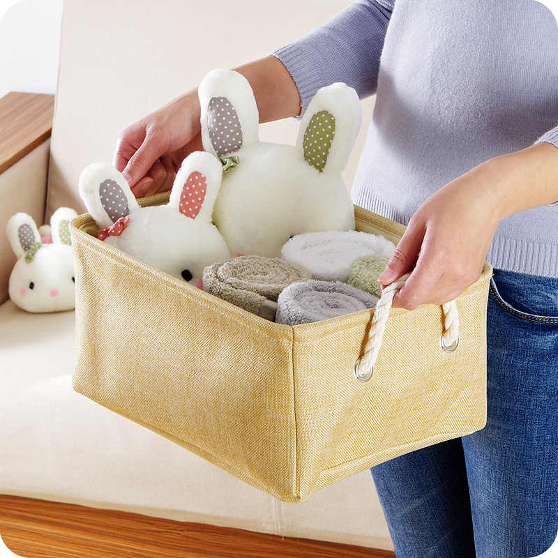 Cubo Dobrável cesta de armazenamento de Artigos Diversos de Caixa De Armazenamento De Roupas de linho de algodão Crianças Brinquedo Cesto de roupa suja Organizador Organizadores Escritório