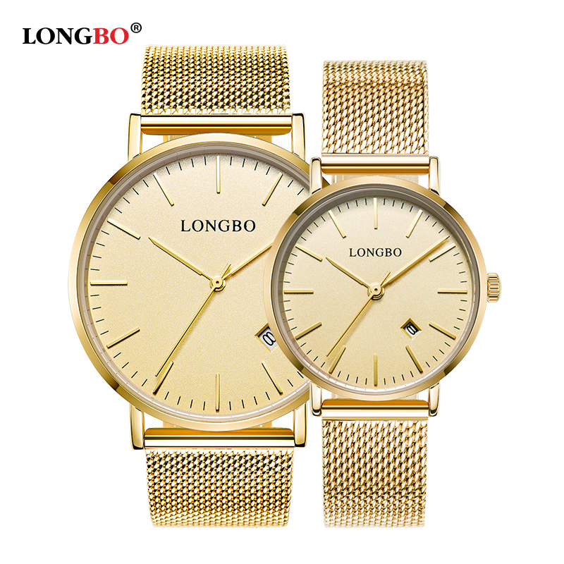 LONGBO 2018 Hot Luxury Lovers Couple Watches Men Date Waterproof Women Gold Stainless Steel Mesh Band Quartz Wrist Watch Clock longbo men and women stainless steel watches luxury brand quartz wrist watches date business lover couple 30m waterproof watches