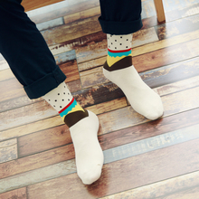 Colorful Cotton Man Crew Socks Dot Pattern Hip Hop British Style Casual Harajuku Designer Brand Novelty