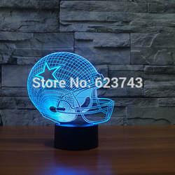 Dallas Cowboys Американский футбол кепки шлем 3D светодио дный LED Цвет Изменение Декор ночник сенсорный индукции управление