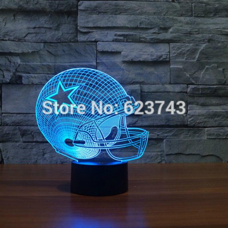 NFL Dallas Cowboys cap capacete de Futebol Americano 3D Mudança de Cor led Decor night light por indução Toque controle