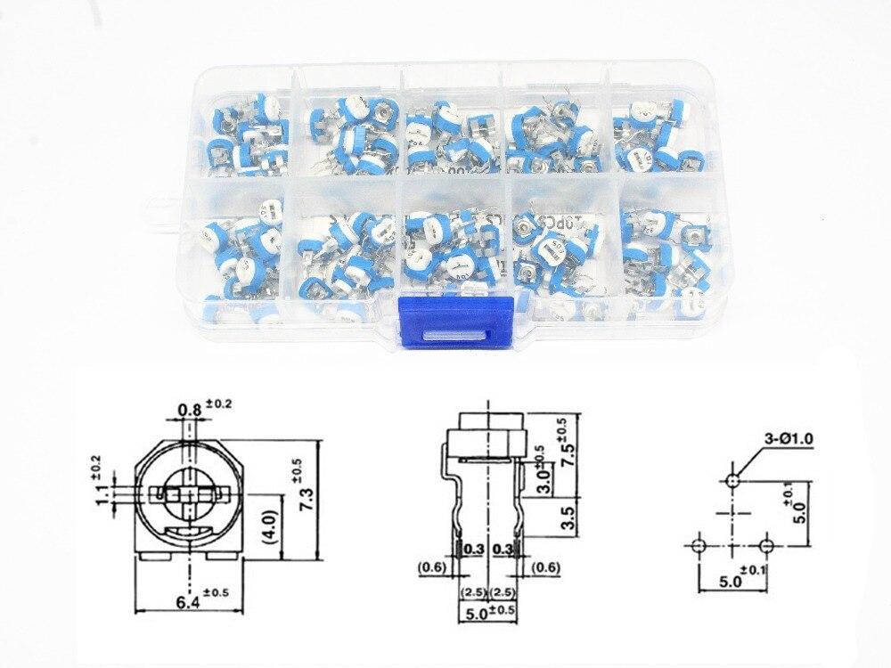 100PCS//Box RM065  10 Value Carbon Film Horizontal Trimpot Potentiometer Kit