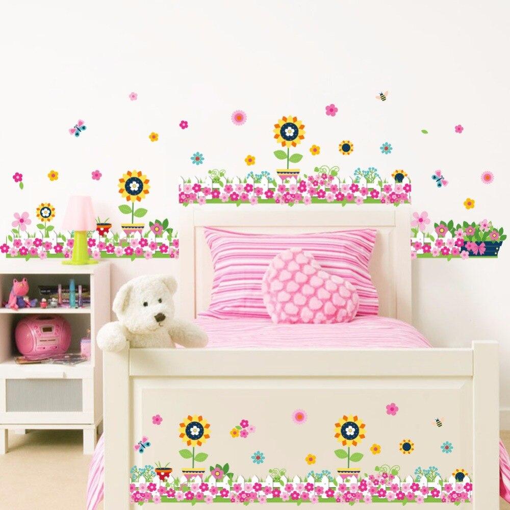Красивый цветок солнца Садоводство украшение стены Стикеры s Спальня Каналы плинтус Цветочный Стикеры винил для декора
