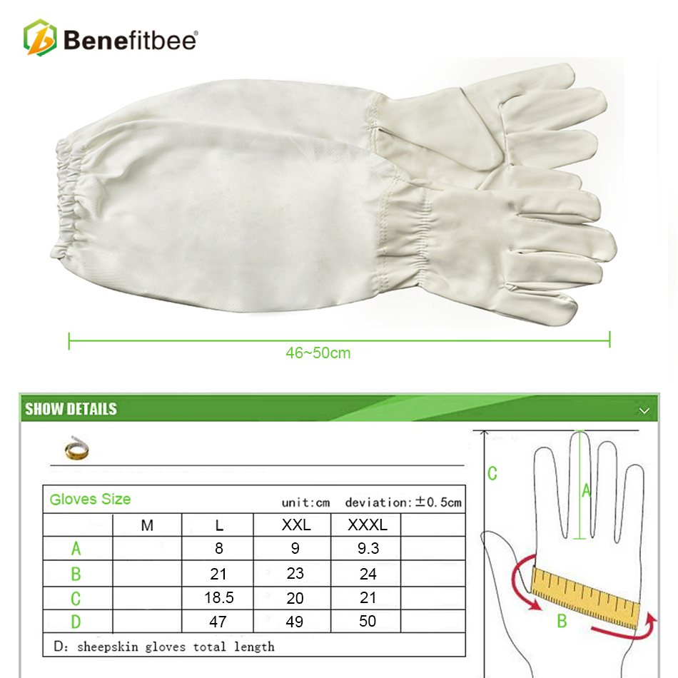 Image 4 - Benefitbee Brand Beekeeping Gloves PU Leather Beekeeper Gloves Protective Sleeves Bee keeping Glove Apiculture Equipment-in Beekeeping Tools from Home & Garden