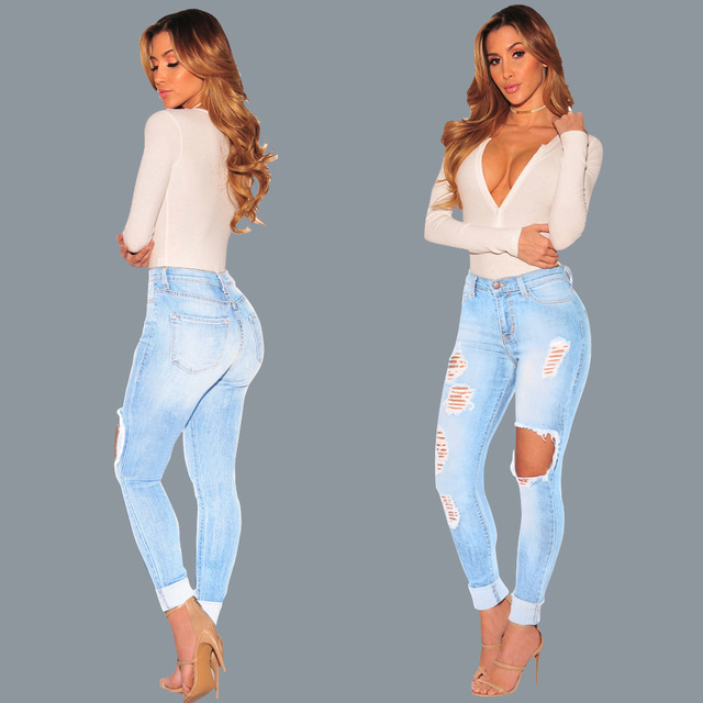 Hot style lady ripped jeans