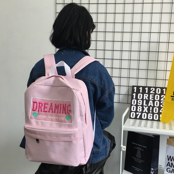 New Arrival Harajuku Women Dreaming Dreamers Candy Cute Backpack Bag School College Casual Red Wine Pink Blue Cheer Leaders Club