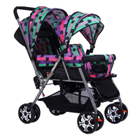 Twin stroller Double Baby Pram Twin Pushchair Stroller Buggy Easy Foldable Two Rain Canopies