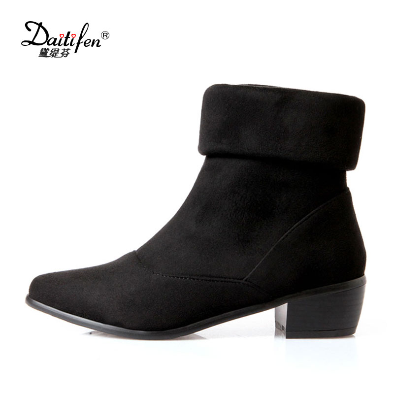 Daitifen Black Ankle Boots Women Winter Shoes Fashion Slip On Stretch Boots Comfy Med Heels Pointed Toe Ladies Chelsea Boots