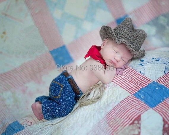 New Handmade cotton Crochet Baby Hats & Pants baby set.Newborn crochet Photo Prop . baby Beanies ,baby Khaki Cowboy hat ,pants