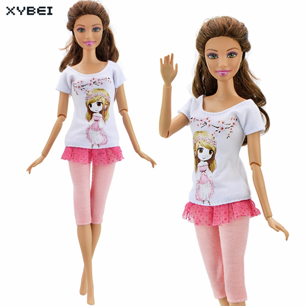 Handmade Short Dress Cartoon Cute Pattern Outfit Daily Casual Wear Beautiful Clothes For Barbie Doll Accessories Kids Gift Toy