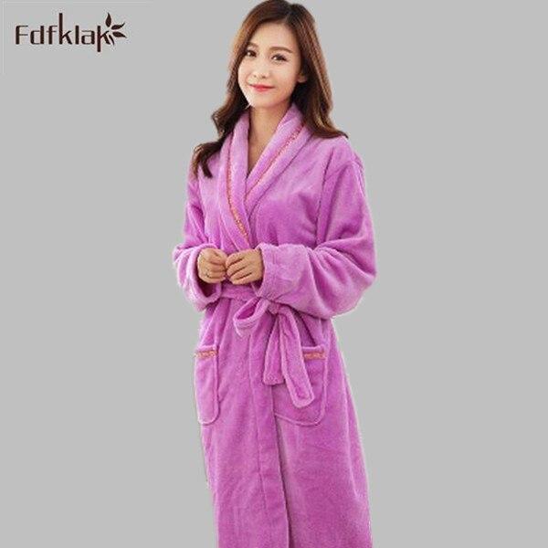 Flannel Lovers Ladies Bathrobes Autumn Winter Robe 2018 Male Women Thicken Coral Fleece Pyjamas Sleepwear Lounge Kimono Feminino