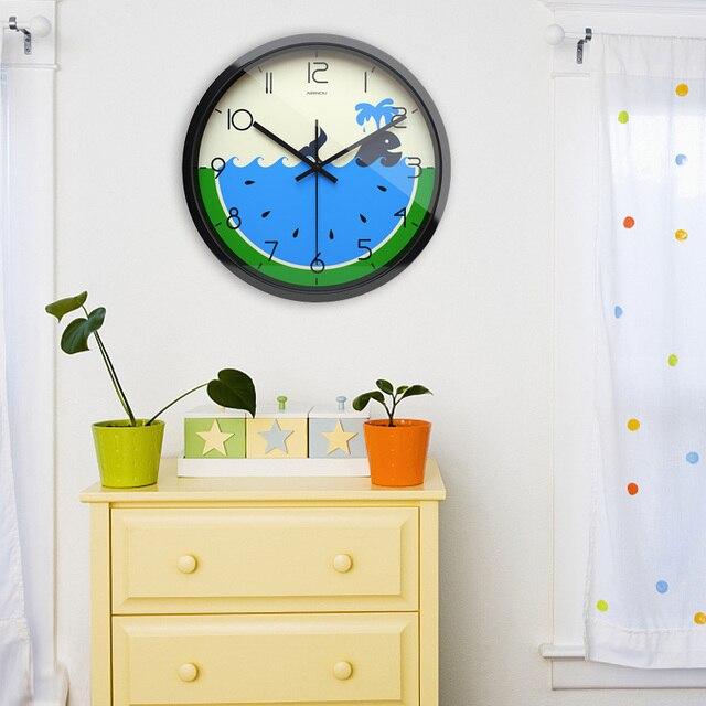 Airinou Neue Cartoon Wassermelone Erfüllen Whale Design Stille Bewegung  Wanduhr, Wohnzimmer Haus Verzieren Uhr