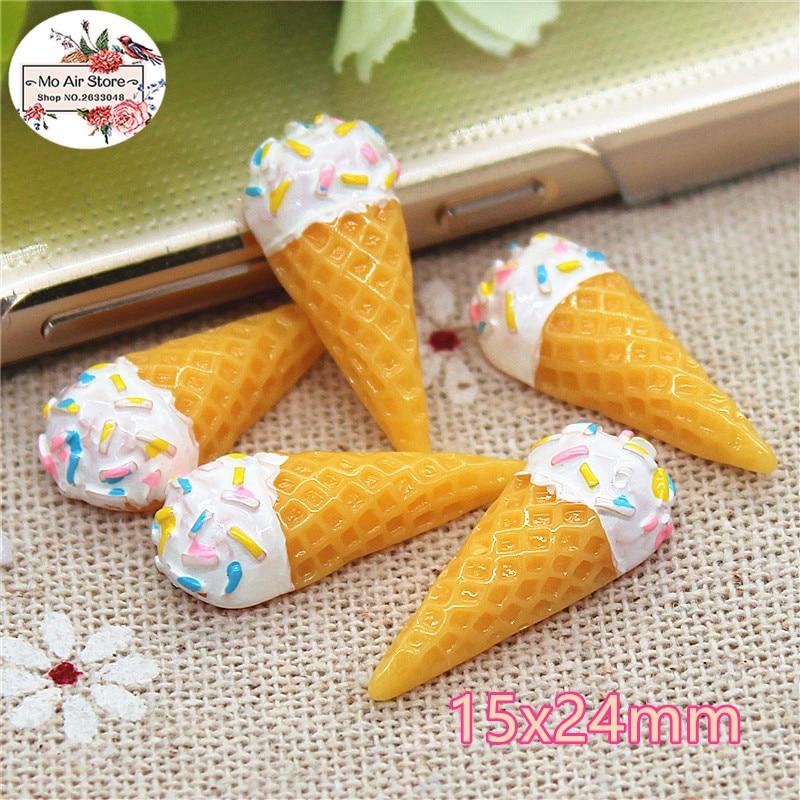 10PCS Ice Cream Cone Resin Flat Back Cabochon Imitation Food Art Supply Decoration Charm DIY Craft