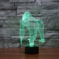 3D Illusion Orang Gorilla Chimpanzee Halloween Optical Illusion LED USB Table Night Light Desk Lamp Lighting for Halloween Xmas