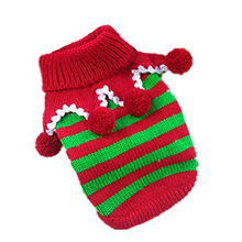 DSHA New Hot Red with Green Knit Pet Dog Sweater Clothes Coat Apparel,Small