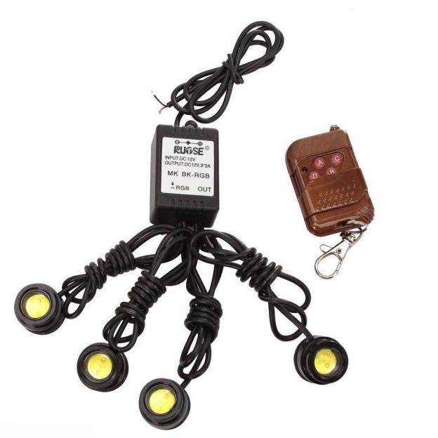 kongyide Healight Bulbs 4in1 12V Hawkeye LED Car Emergency DRL Wireless Remote Control Kit NOV10