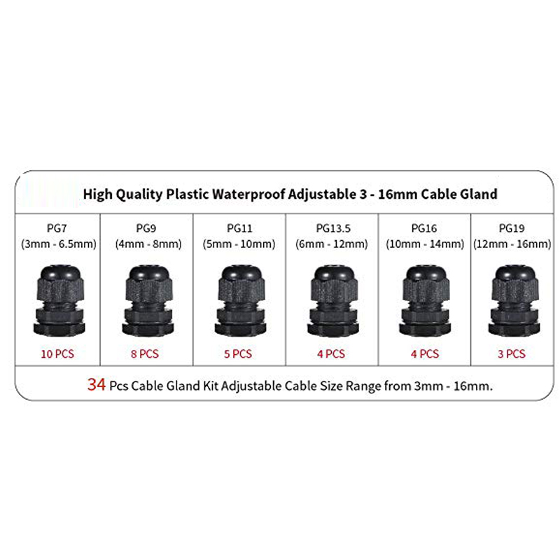 PG11 PG13.5 Black 50pcs Cable Gland Waterproof Adjustable 3-16mm Cable Connectors PG7 PG16 PG9 PG19 Plastic Cable Gland Joints