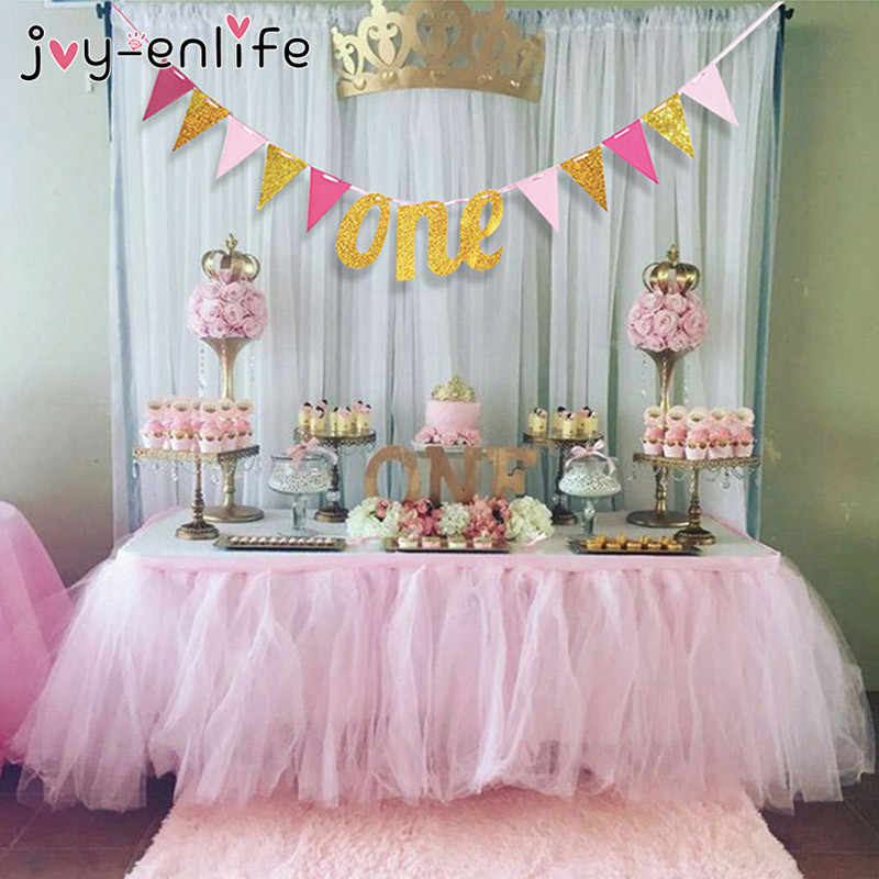 JOY ENLIFE Glitter Gold Silver Letters ONE Banner Garland Kids First Birthday One Year Old