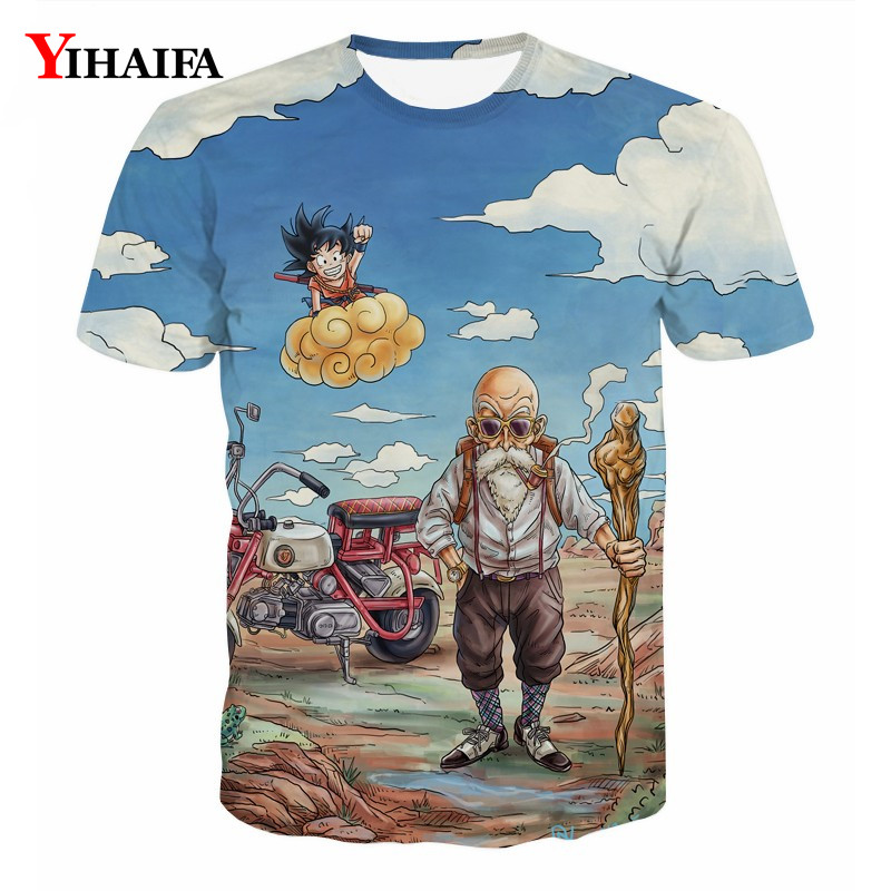 3D Print Dragon Ball Z Kid Goku Master Roshi Graphic Tee Men T shirt Anime Casual Tee Shirt Summer Short Sleeve Tops(China)