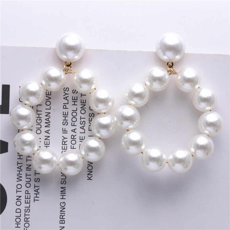 2018 Hot Fashion Jewelry White Imitation Pearl Earrings big Round 12mm Pearl Earrings Statement Earrings for woman