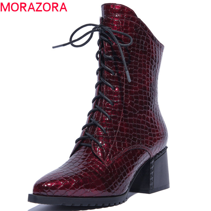 MORAZORA 2019 top quality ankle boots for women pointed toe autumn winter boots zip +lace up  boots fashion shoes womanMORAZORA 2019 top quality ankle boots for women pointed toe autumn winter boots zip +lace up  boots fashion shoes woman