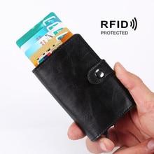 2019 RFID Protection Credit Card Holder Men Women Metal Anti Vintage Aluminium Box PU Leather Fashion Wallet