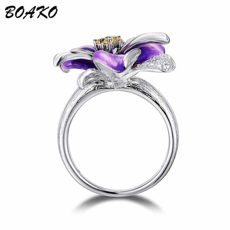 BOAKO 925 סטרלינג כסף טבעת סגול אמייל פרח טבעת לנשים AAA זירקון קריסטל טבעת עדין אופנה תכשיטי אצבע Bague