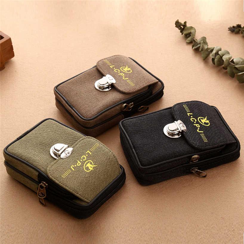Aelicy Celular Cinto Dos Homens Da Lona Do Vintage Pacote de Cintura Saco Do Telefone Móvel Saco de Viagem Cinto Handbag0 Carteiras Moedas À Prova D' Água