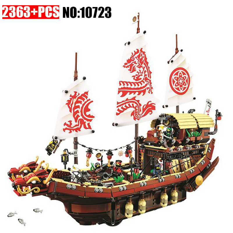 New 10723 Ninja series The Destiny's Bounty Model Building Blocks set Compatible 70618 classic ship education Toys for children lepin 70609 ninja series the manta ray bomber model building blocks set compatible education toys for children gifts