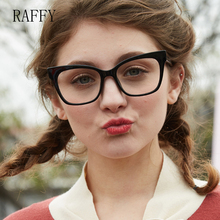 4b385fc4bf3d RAFFY Big Square Full Eyewear Vintage Women Eyeglasses Glasses White Black  Frames