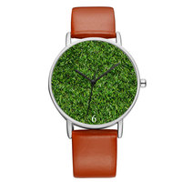 BAOSAILI Brand Spring Green Grass Printed Women Watches Lady Genuine Leather Band Watches For Christmas Eve Gift Watches Bs9046