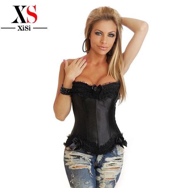 Señora partido faja cintura trainer corsé moda mujeres Bustier y corsés cincher corselet xxxl de encaje negro corsé de Overbust
