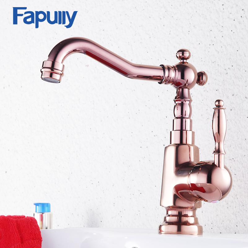 Fapully Rose Gold Bathroom Basin Faucet Brass Vessel Sink Polish Finish Mixer Tap Single Handle Deck Mounted Hot And Cold Water luxury rose gold deck mounted three holes sink faucets hot and cold water mixer tap bathroom basin faucet mpsk011a
