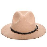 Wool Jazz Hats Large Brim Felt Cloche Cowboy Panama Fedora Hat For Women Black Trilby