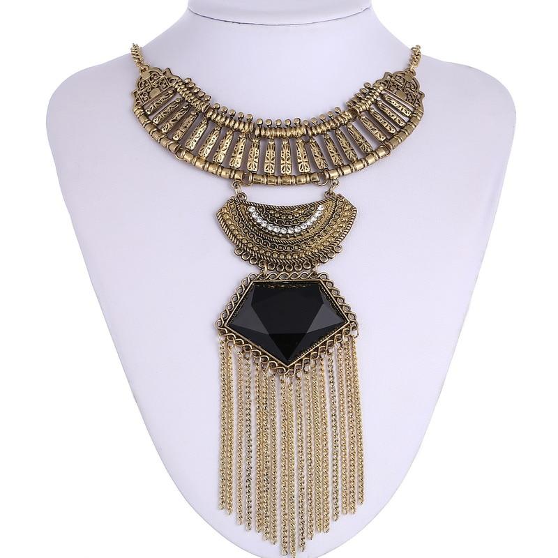 LOVBEAFAS Mote Flerlag Maxi halskjede Fine smykker uttalelse Vintage halskjeder og anheng Kjede dusk Boho halskjede kvinner