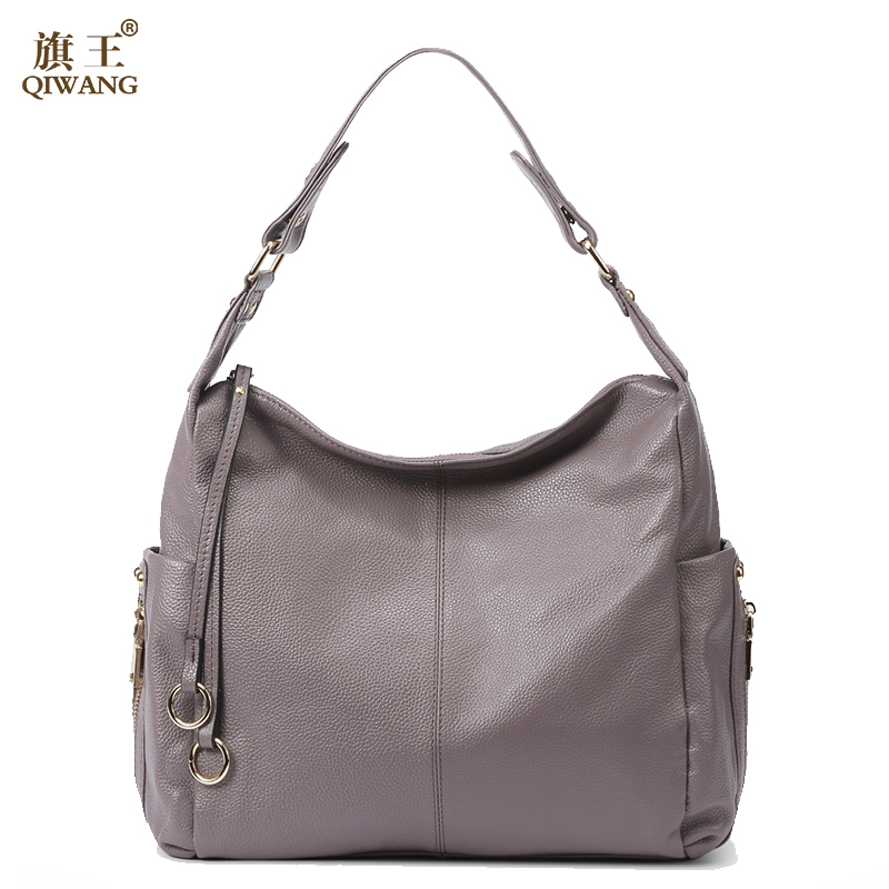 Qi 100 Grey Genuine Leather Bag Women S Handbag Las Shoulder Bags Satchel Purse Crossbody Hobo Large Capacity In From Luggage