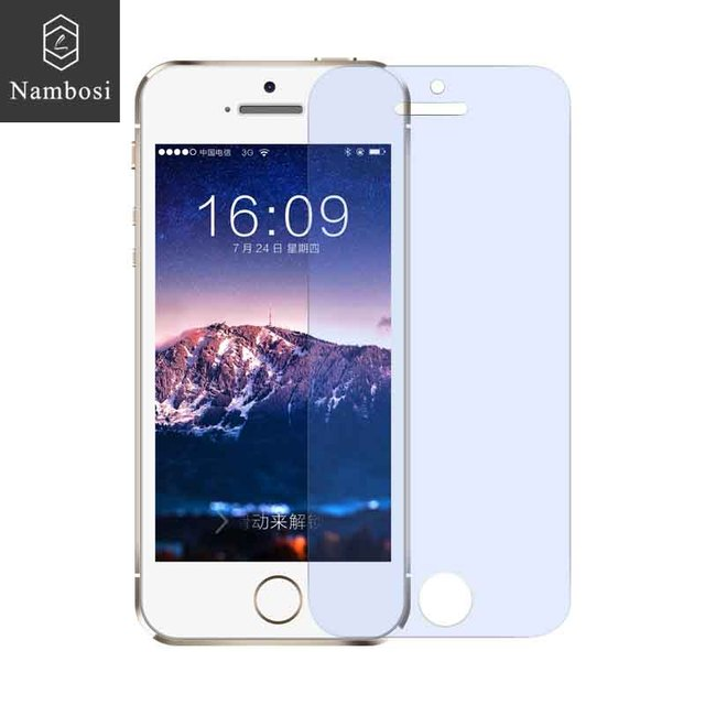 Nambosi 0.33mm polished tempered glass screen protector for iPhone 5S iPhone 5 iPhone SE Anti blue light  protective glass