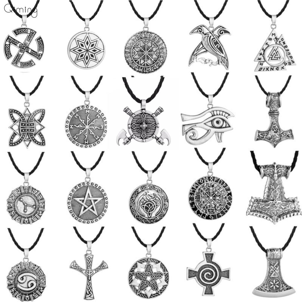 Valknut Norse Punk Men Necklace For Women Jewelry Mjolnir Pendant Evil Eye Viking Slavic Jewelry Talisman Vintage Necklace Pendant Necklaces  - AliExpress