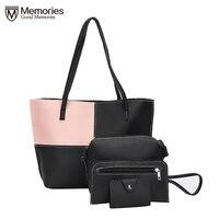Women Bag Women S Purse Leather Handbags 4Pcs Set Lady Fashion Bolsa Feminina Soft Clutch Solid
