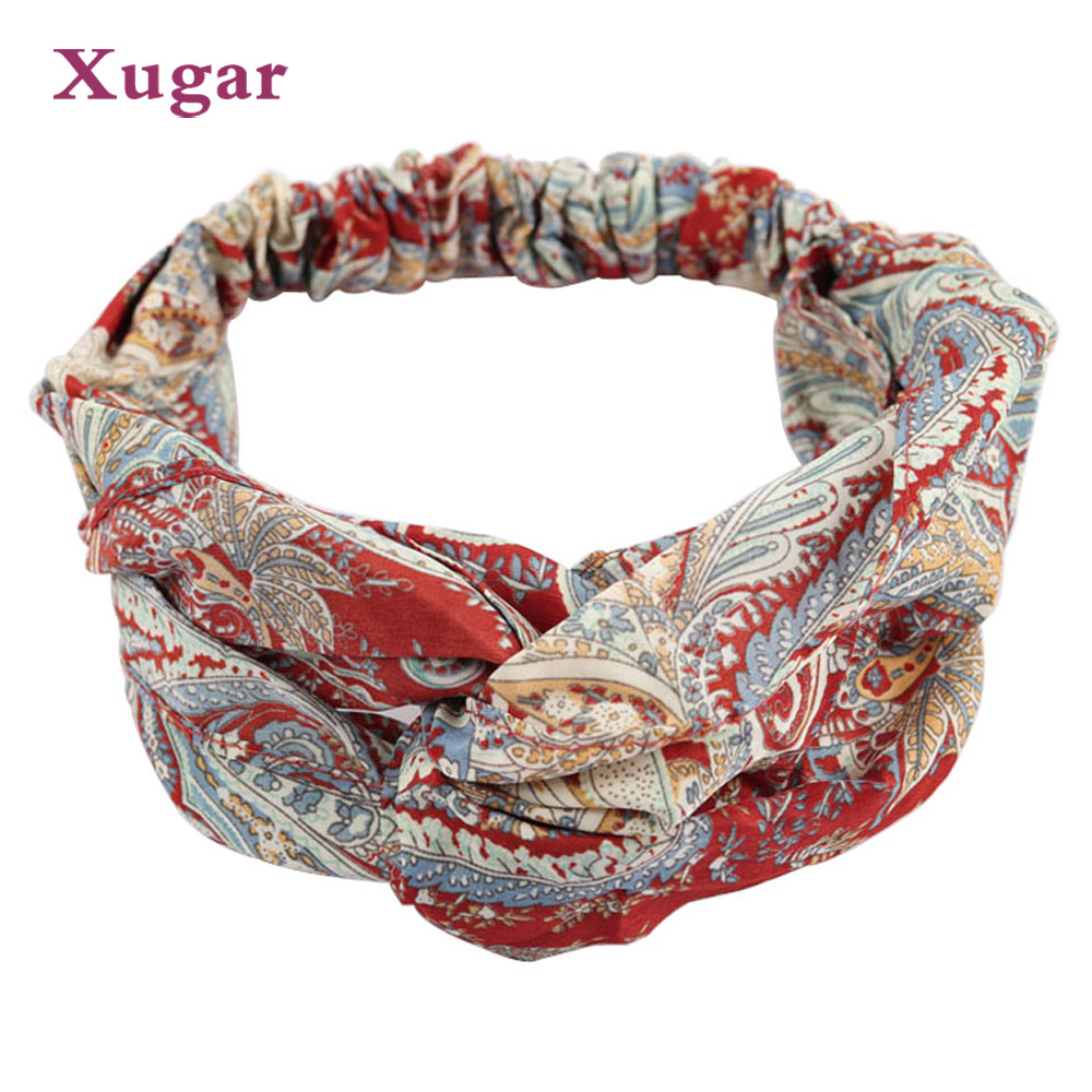 New Design Retro Print Cross Headband For Women Girl Elastic Twisted Turban Hairband   Headwear   Hair Accessories