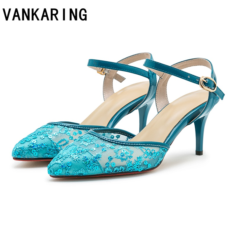 mixed color summer platform sandals women fashion mesh flat sandals sexy pointed toe slingback casual beach
