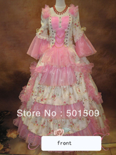 Medieval Renaissance Gown rose Dress with hat pink/blue Costume Victorian Gothic/Marie Antoinette/civil war/Colonial Belle Ball