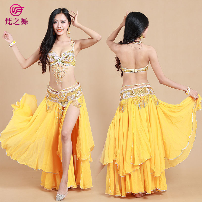 2018 Arabic Beaded Sequins Belly Dance Bra Belt Skirt 3pcs
