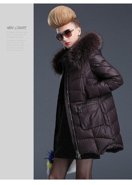 2017 de invierno nueva mujer de la llegada abajo cubre medio-largo engrosamiento cuello de piel de gran moda mujer caliente jackt