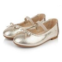 T.S. trẻ em giày chất lượng con trẻ em công chúa giày thường giày da mềm cô gái giày phẳng vàng bạc đen Kích Thước 26-37